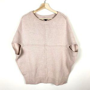 Ann Taylor Merino Wool Poncho Sweater Tan/Pink - L